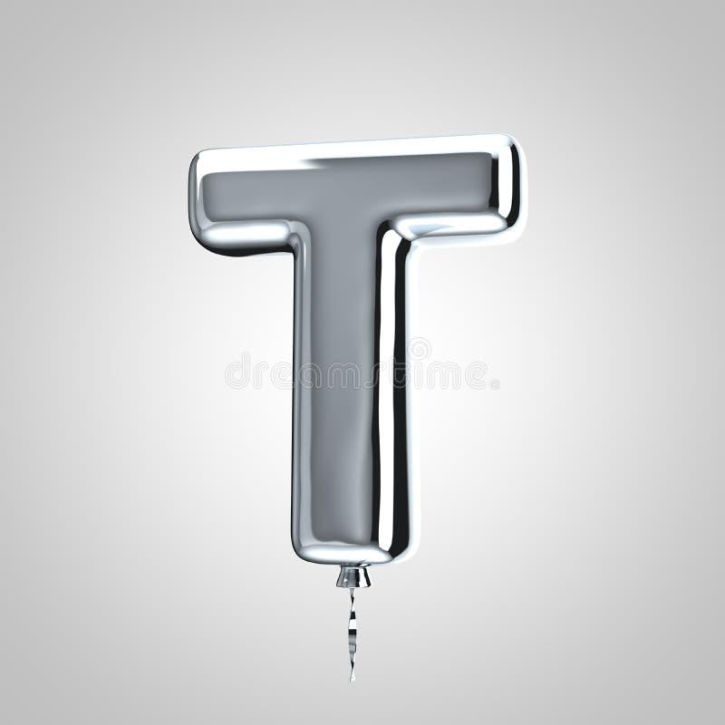 Shiny metallic chrome balloon letter T uppercase isolated on white background vector illustration