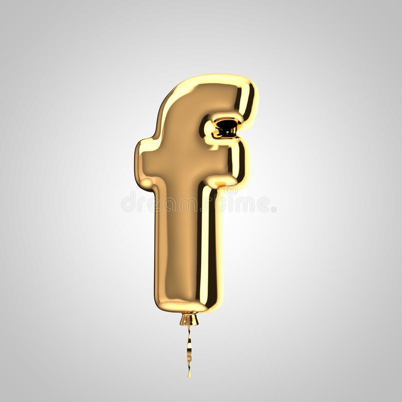 Shiny metallic gold balloon letter F lowercase isolated on white background. 3D rendered alphabet type balloons for holiday, birthday, celebration, new year royalty free illustration