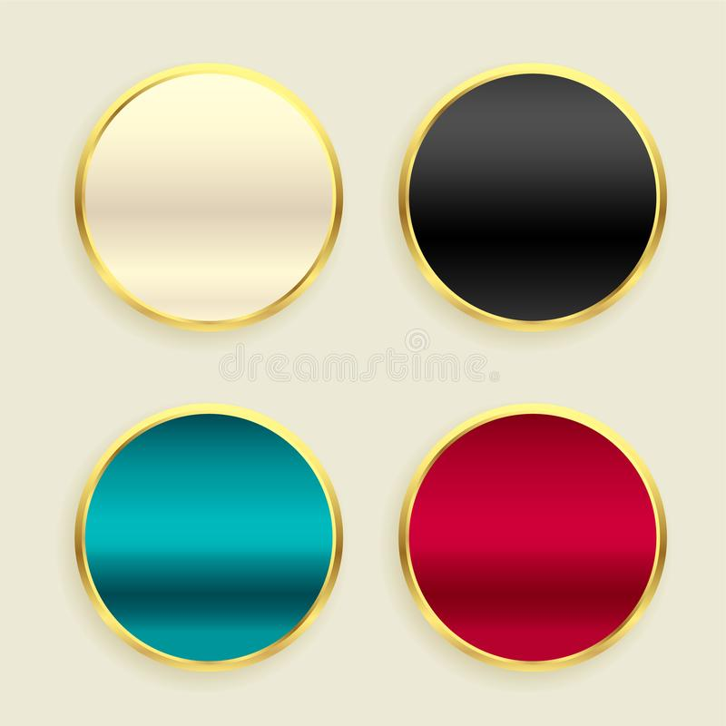 Shiny metallic golden circular buttons set vector illustration