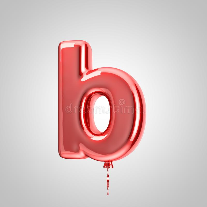 Shiny metallic red balloon letter B lowercase isolated on white background. 3D rendered alphabet type balloons for holiday, birthday, celebration, new year stock illustration