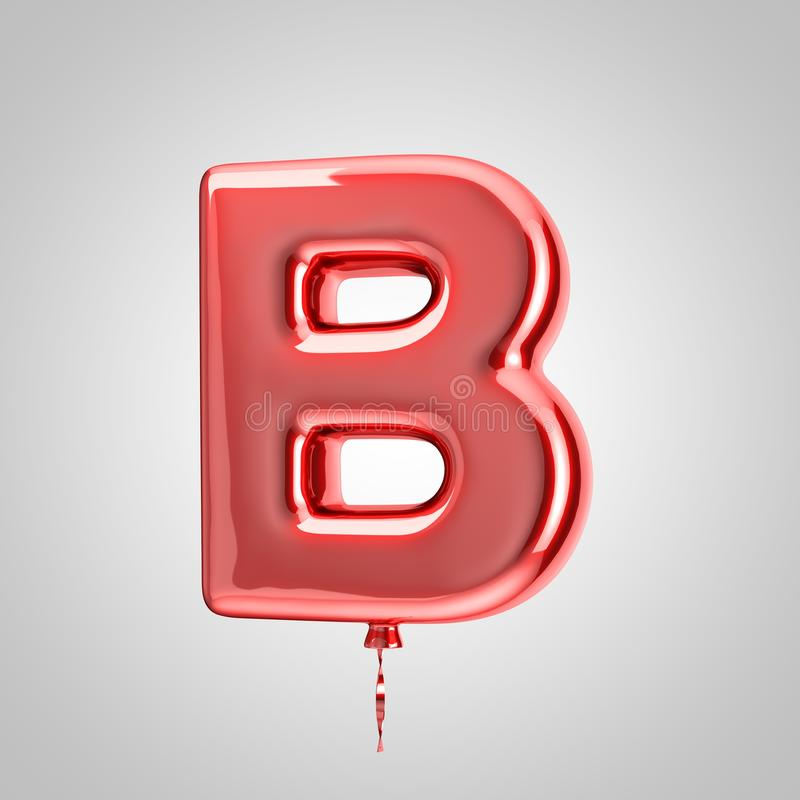 Shiny metallic red balloon letter B uppercase isolated on white background. 3D rendered alphabet type balloons for holiday, birthday, celebration, new year stock illustration