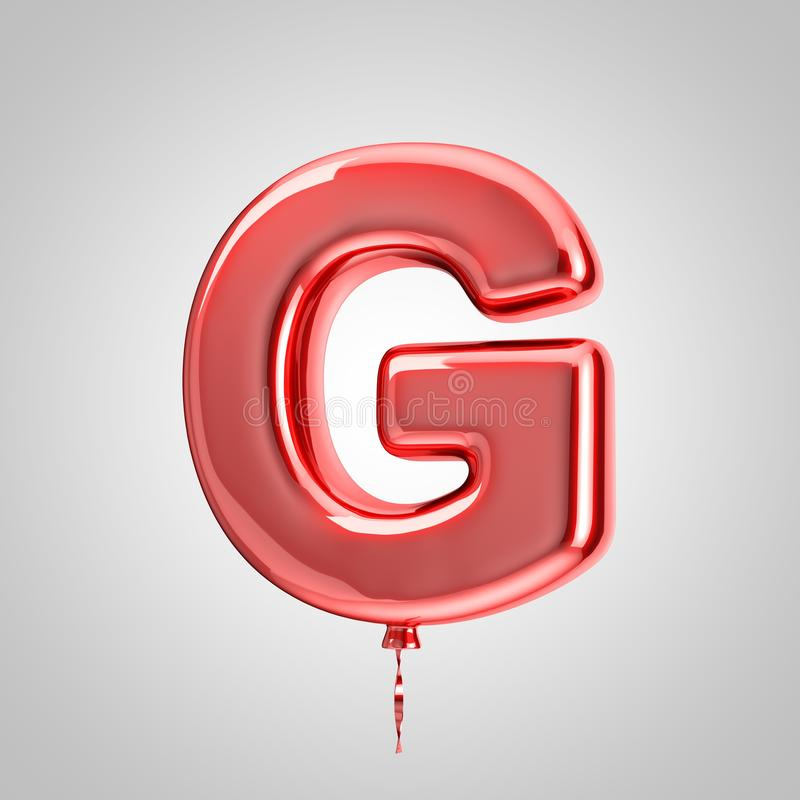 Shiny metallic red balloon letter G uppercase isolated on white background. 3D rendered alphabet type balloons for holiday, birthday, celebration, new year royalty free illustration