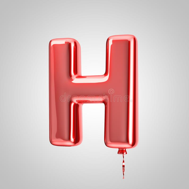 Shiny metallic red balloon letter H uppercase isolated on white background. 3D rendered alphabet type balloons for holiday, birthday, celebration, new year stock illustration