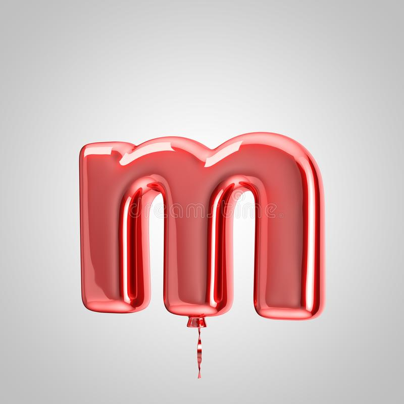 Shiny metallic red balloon letter M lowercase isolated on white background. 3D rendered alphabet type balloons for holiday, birthday, celebration, new year stock illustration