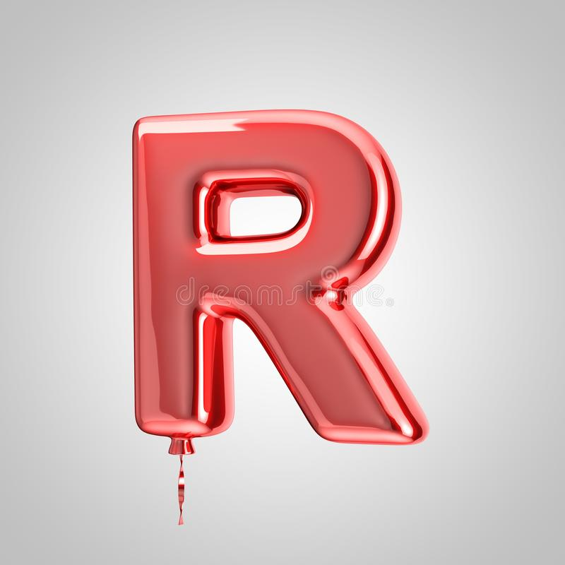 Shiny metallic red balloon letter R uppercase isolated on white background. 3D rendered alphabet type balloons for holiday, birthday, celebration, new year stock illustration