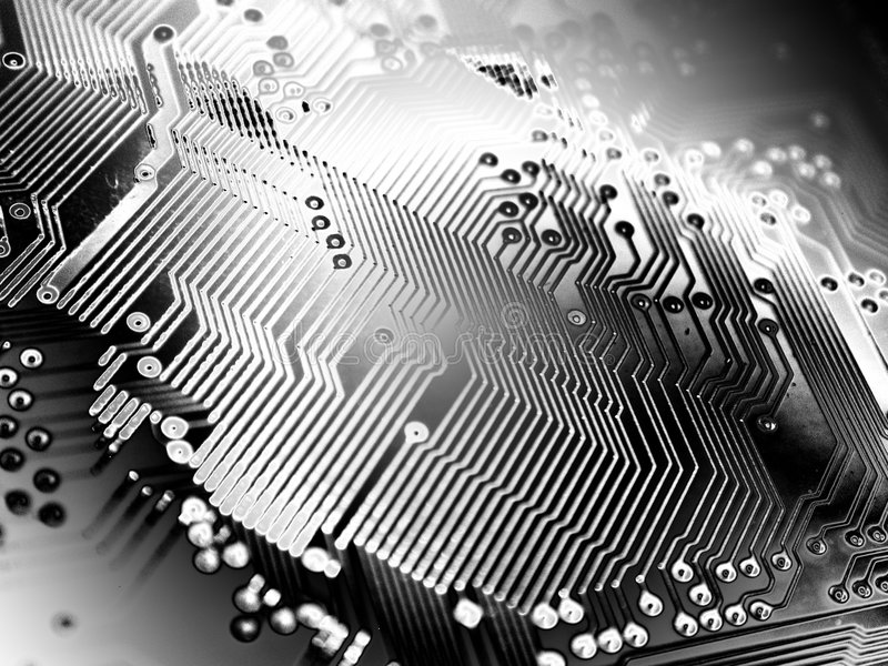 Shiny Metallic Texture Circuit. An abstract computer texture showing circuits in silver, white and black gradient tones royalty free stock image