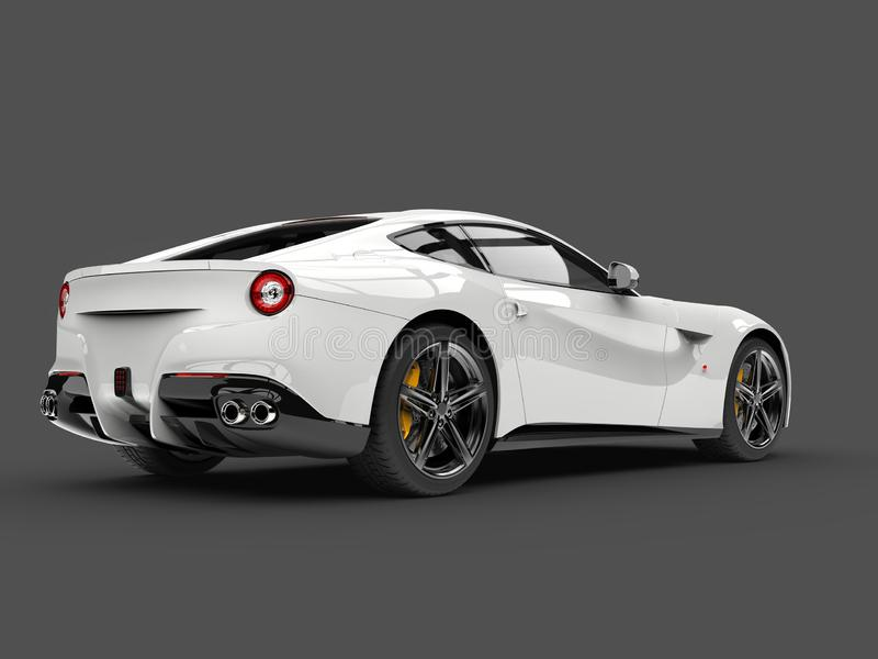 Shiny modern white fast concept car - rear side view royalty free illustration
