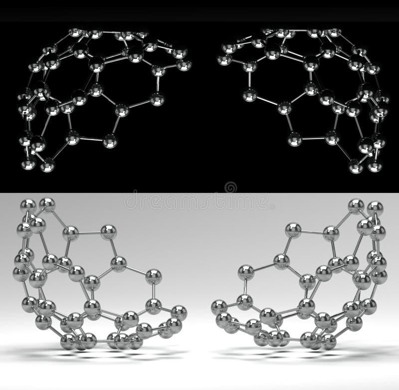 Shiny molecules on black and white stock illustration