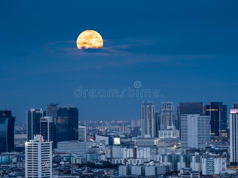 The shiny moonlight from the giant moon of supermoon phenomenon. In capital city of Thailand, Bangkok stock photos