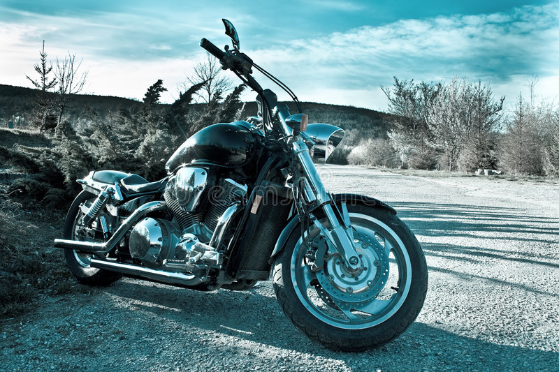 Shiny motorcycle outdoor stock photography