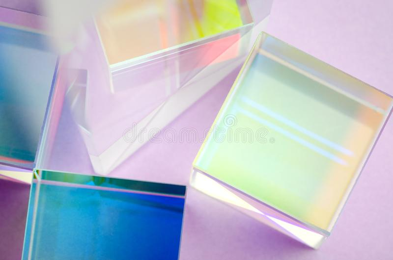 Shiny multi-colored glass cubes close-up stock image