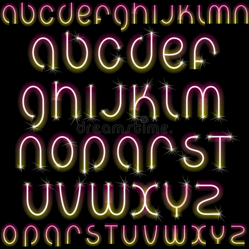 Download Shiny Neon Font stock vector. Image of letters, creative - 22009206
