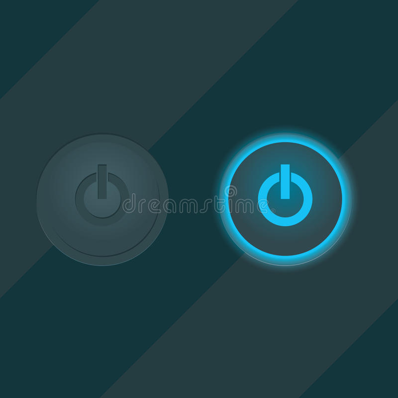 Shiny neon glass buttons on off stock illustration