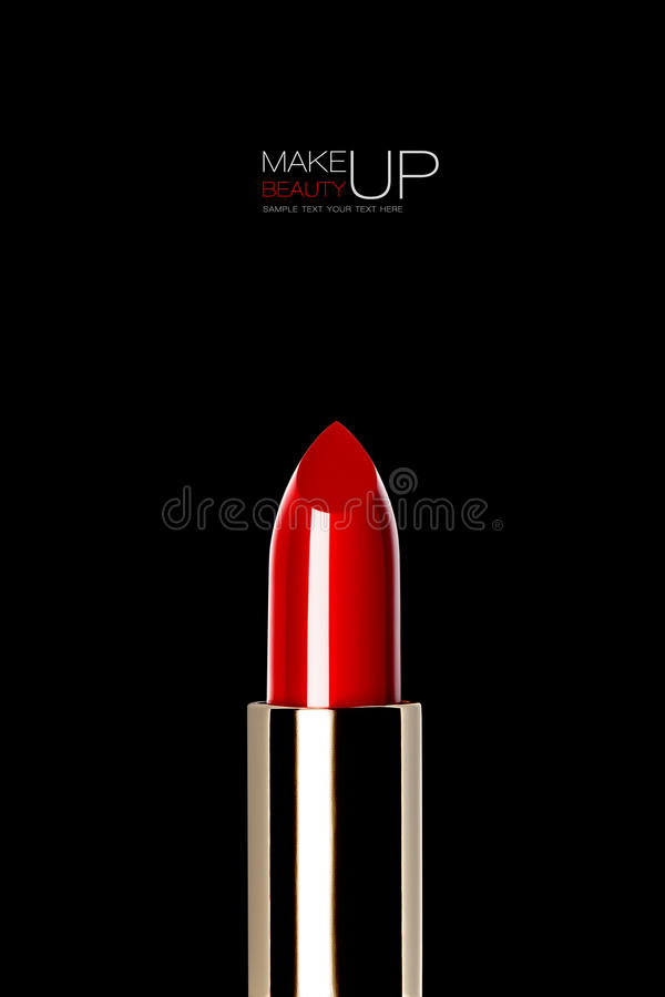 Shiny new red or scarlet lipstick over black. Shiny new metallic golden tube of red or scarlet lipstick over black in a concept of modern color, makeup stock images