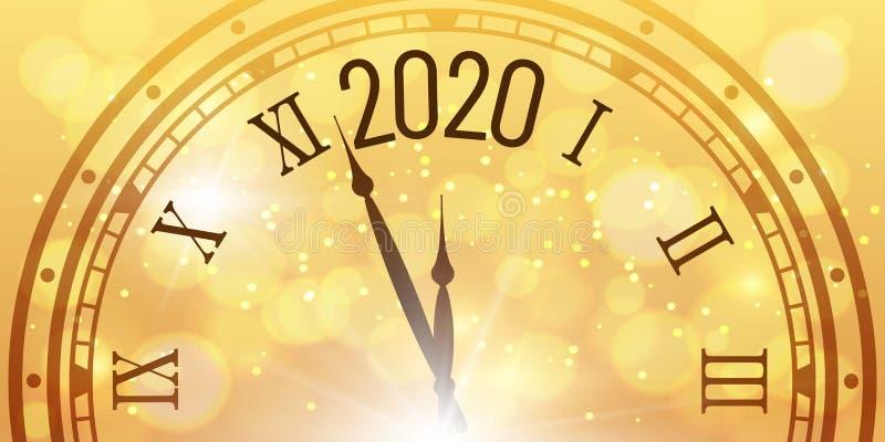 Shiny 2020 New Year poster. Christmas celebration clocks countdown on golden bokeh backdrop vector illustration royalty free stock photos