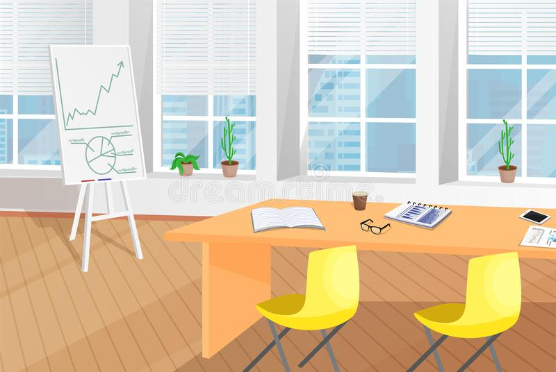 Shiny Office Room with Table and Flip Chart Poster. Vector illustration green flowers, yellow chairs, interior furniture design, coffee cup on papers royalty free illustration