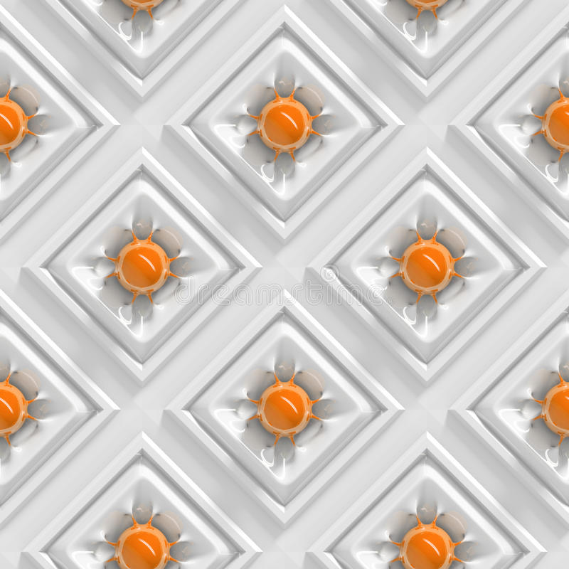 Shiny orange spheres with organically shaped connections in an array of white squares (seamless) royalty free illustration