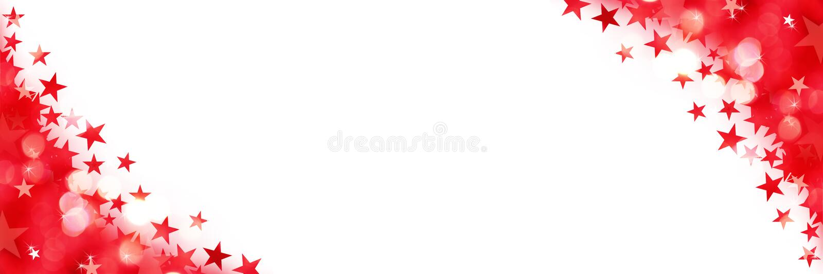 Shiny panoramic background of red lights with stars on white stock illustration