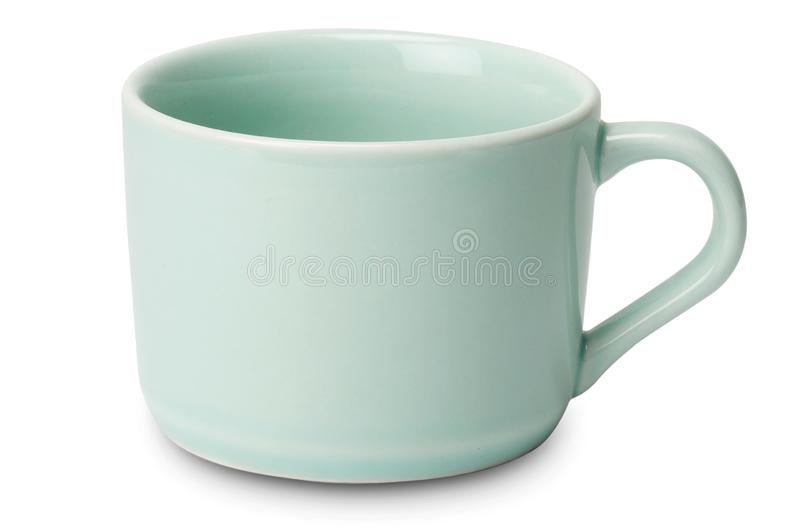 Shiny pastel tea cup isolated on white background stock images