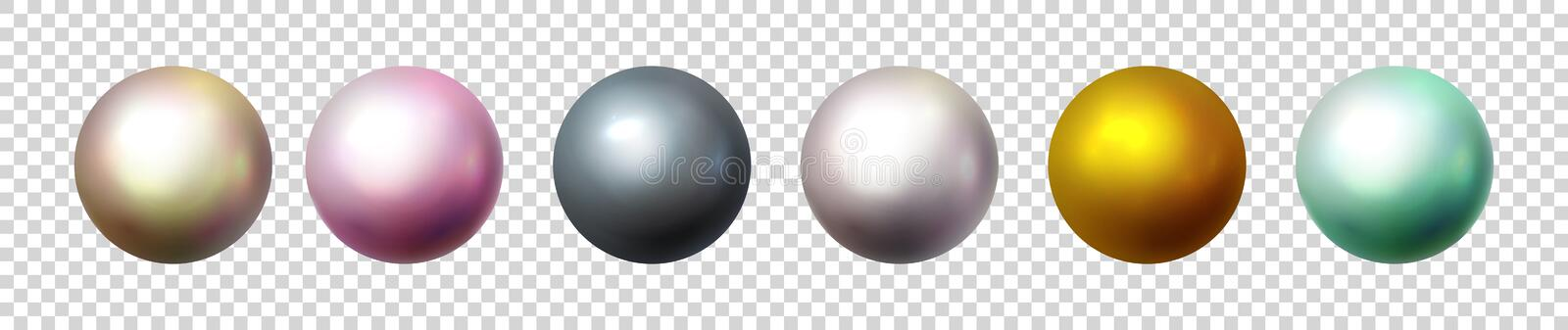 Shiny pearl isolated on transparent background. Multicolored orbs, spherical balls and 3D circle glass buttons. Glossy stock illustration