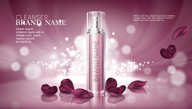 Shiny pink background with moisturizing cosmetic premium products stock illustration