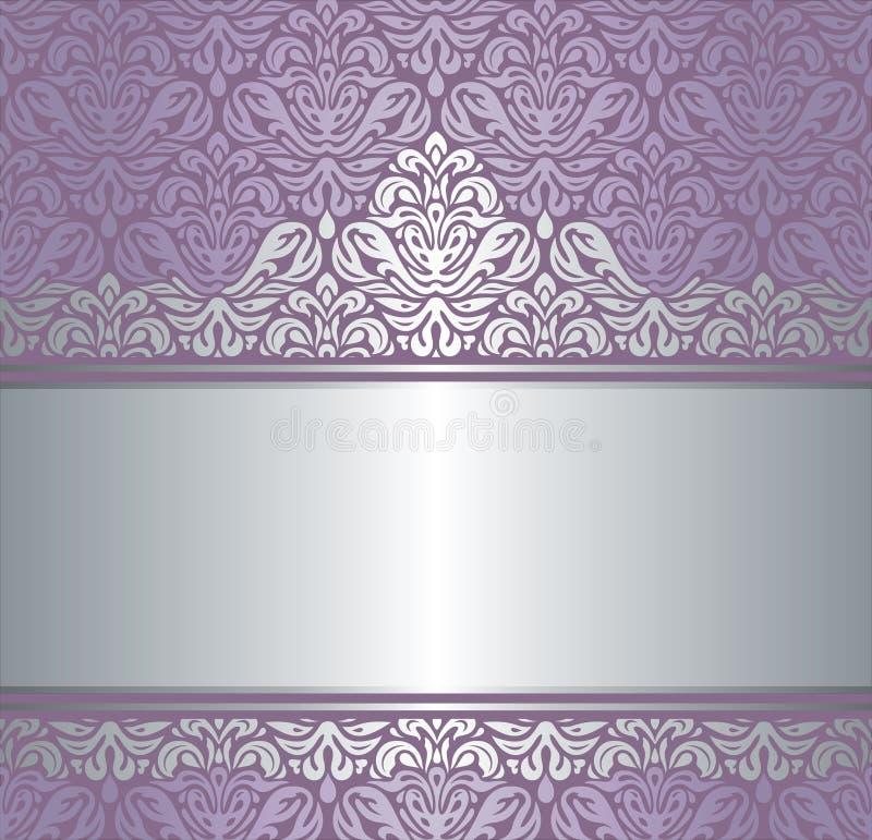 Shiny Pink & silver renaissance pattern vintage invitaton background vector illustration