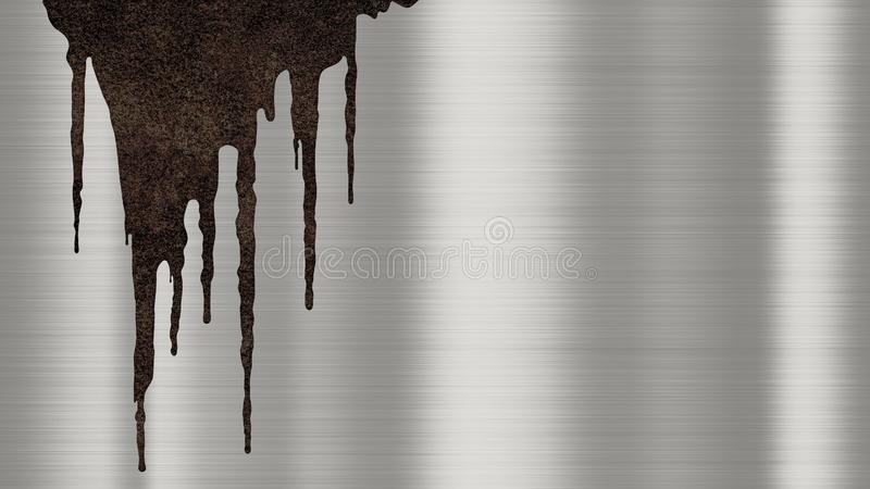 Shiny polished metal background texture with rusty drips of liquid. Brushed metallic steel plate with traces of rust streaks vector illustration