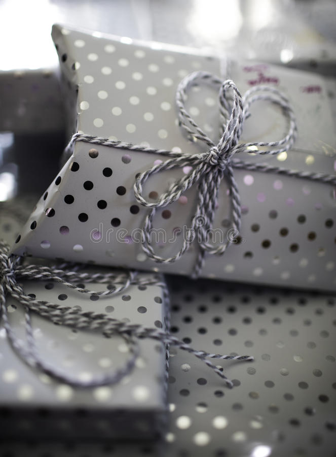 Shiny Polka Dot Presents royalty free stock image