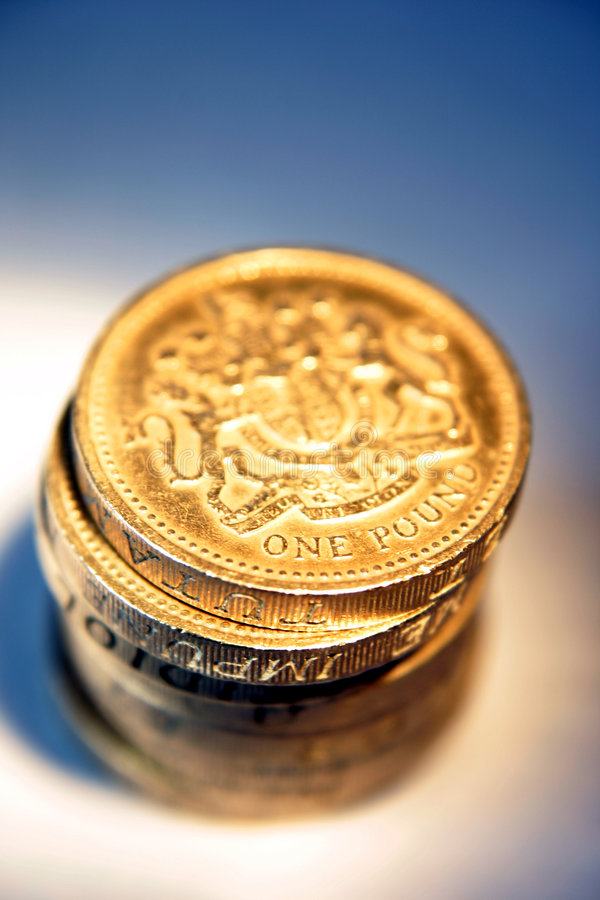 Shiny Pound Coins Stock Image
