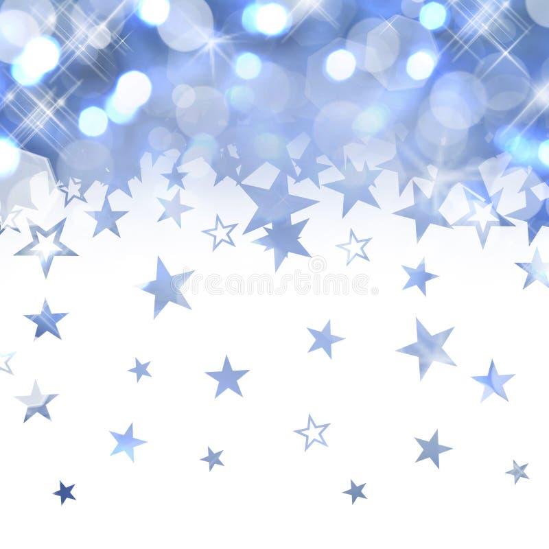 Shiny rain of pastel blue stars. Isolated on white background stock photo