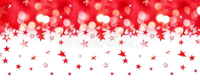 Shiny rain of red stars isolated on white royalty free illustration