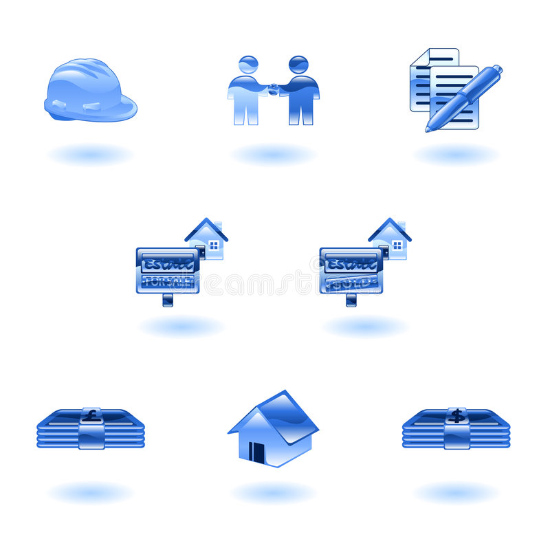Shiny Real Estate Icons stock illustration