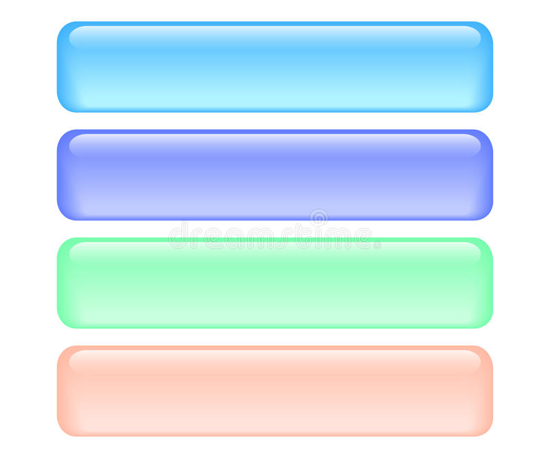 Download Shiny rectangle buttons stock vector. Image of blue, objects - 10777627