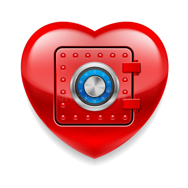 Shiny red heart as a safe stock illustration