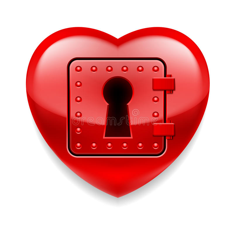 Shiny red heart as a safe royalty free illustration