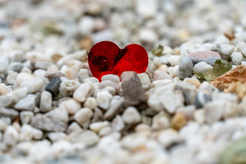A shiny red heart lost on a path of white pebbles stock image