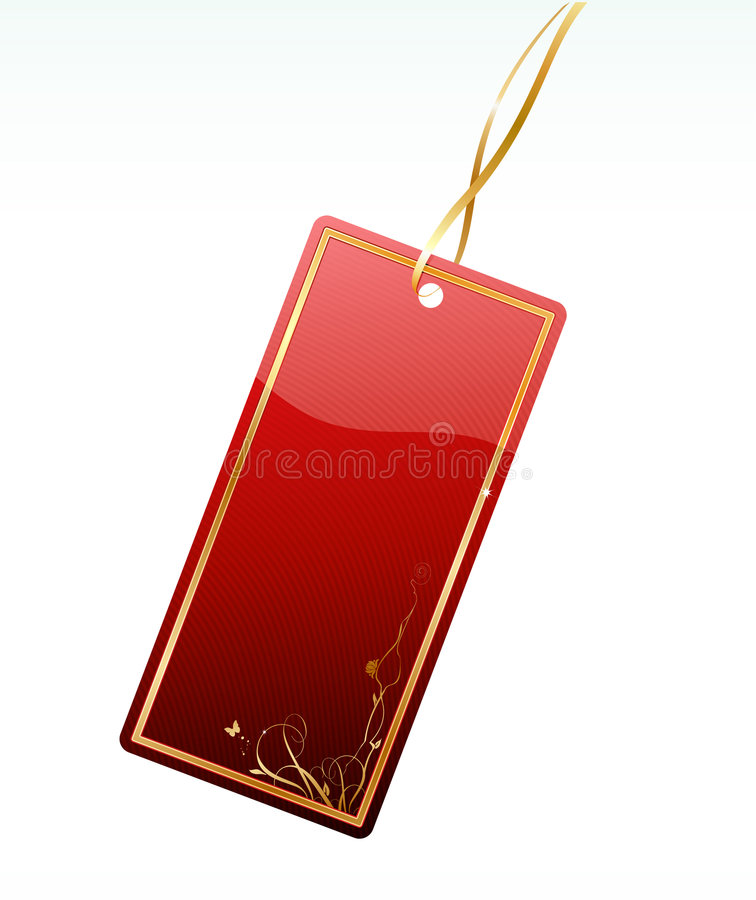 Shiny red price tag royalty free illustration