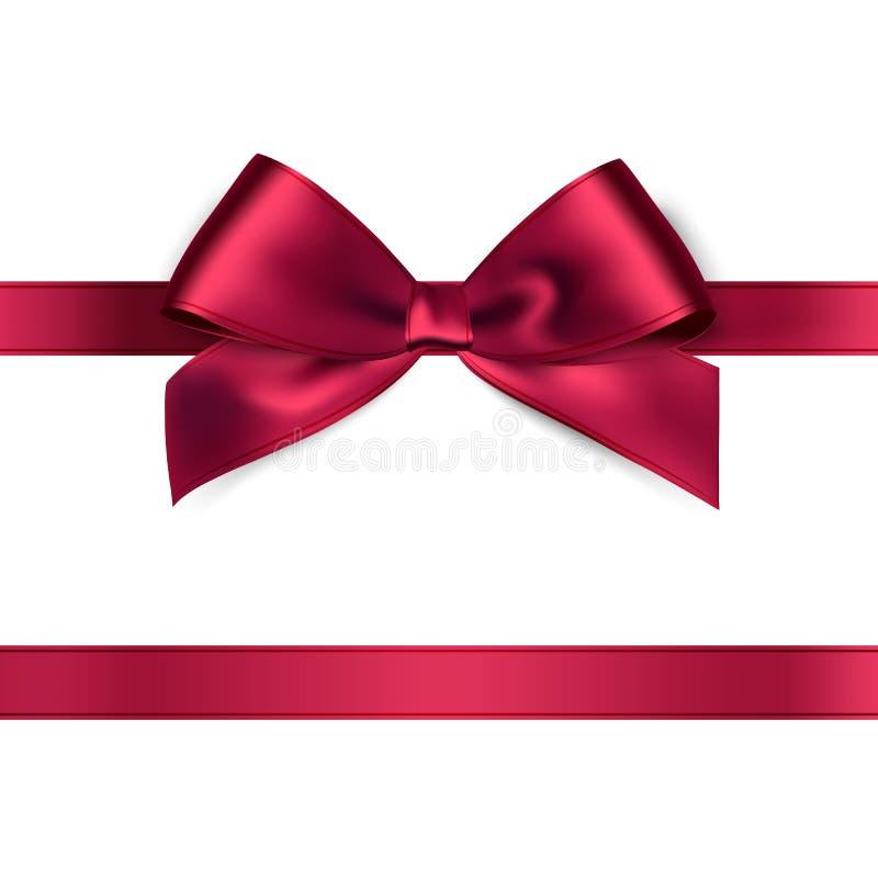 Shiny red satin ribbon on white background. Vector stock illustration