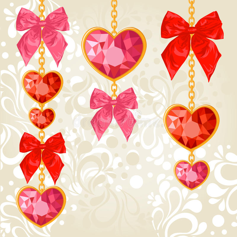 Shiny ruby heart pendants hanging. On golden chains with colorful bows on floral background vector illustration