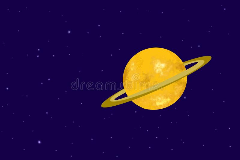 Shiny Saturn illustration on orbit in the solar system with its beautiful ring vector illustration