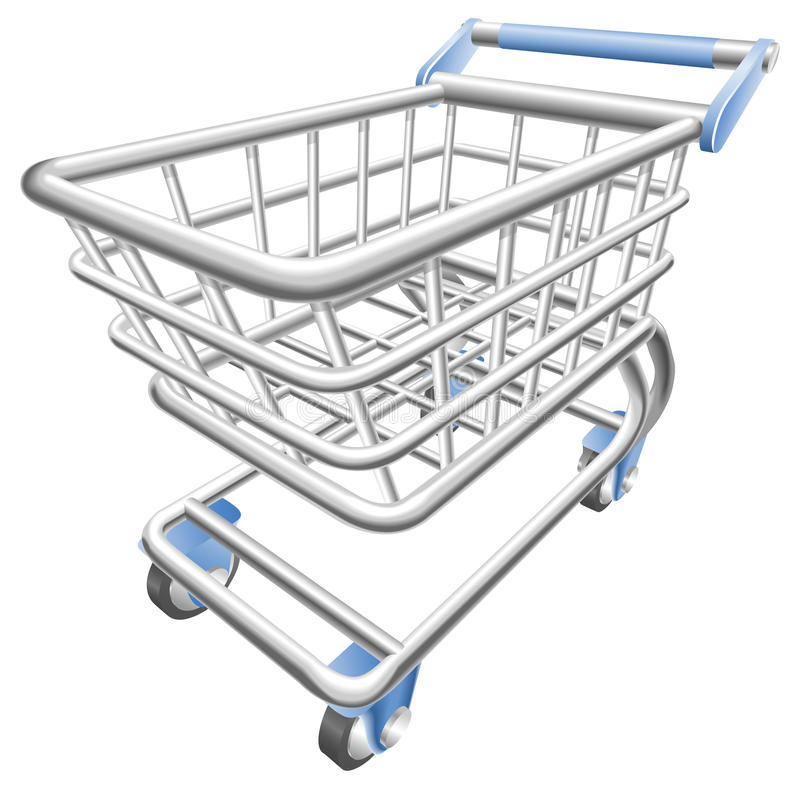 A shiny shopping cart trolley illustration vector illustration