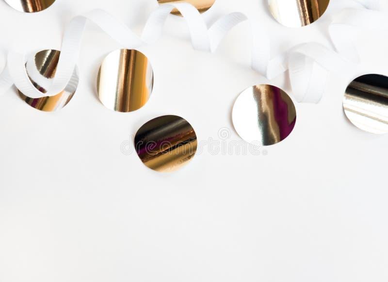 Shiny silver confetti royalty free stock photography