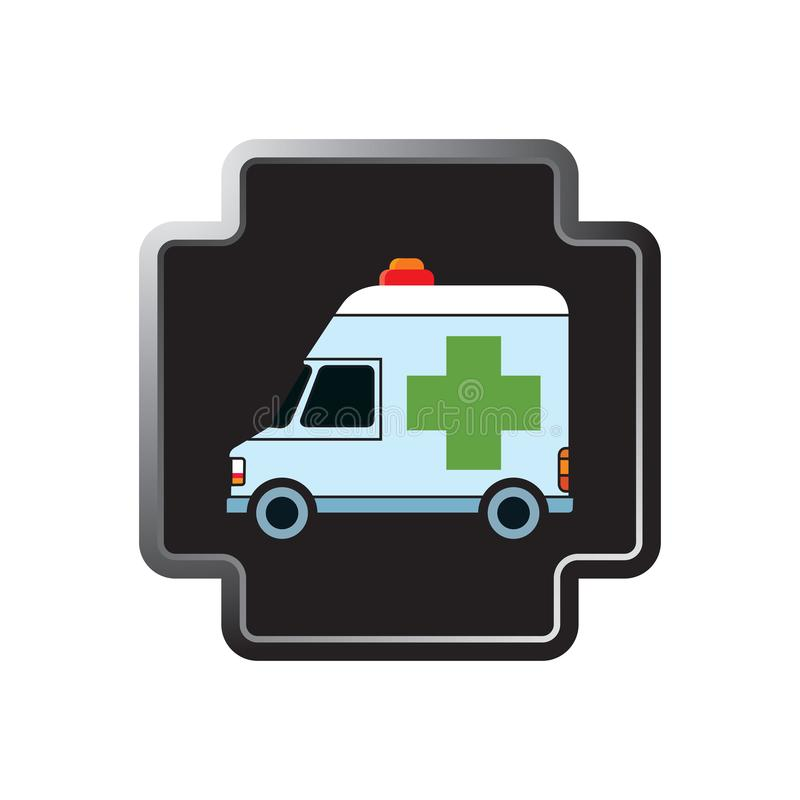 Ambulance cross icon in color. Shiny silver cross shape button with green cross ambulance vector illustration stock illustration