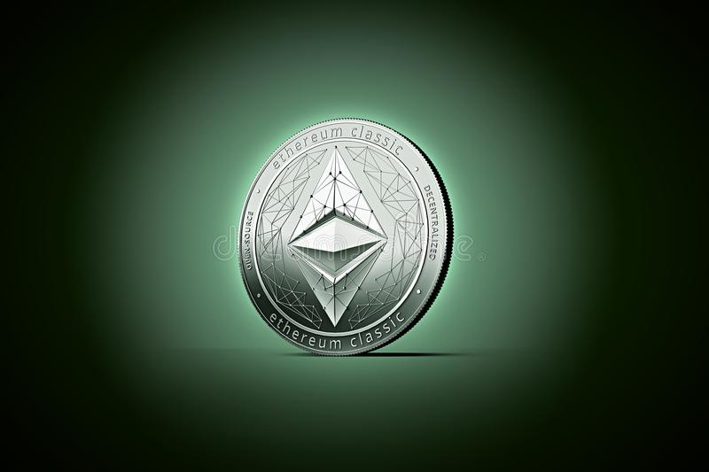 Shiny silver Ethereum classic concept coin on gently lit dark gr. Een background. 3D rendering new virtual money vector illustration