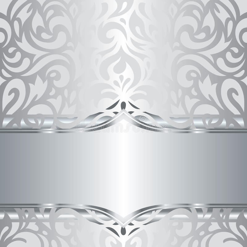 Shiny silver floral holiday vintage invitation background design stock illustration