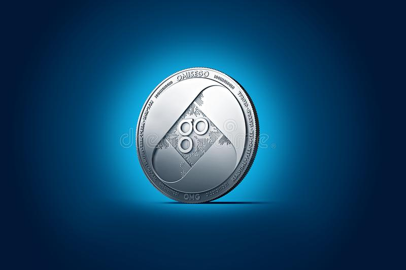 Shiny silver OMISEGO OMG coin displayed on gently lit dark blue background. vector illustration