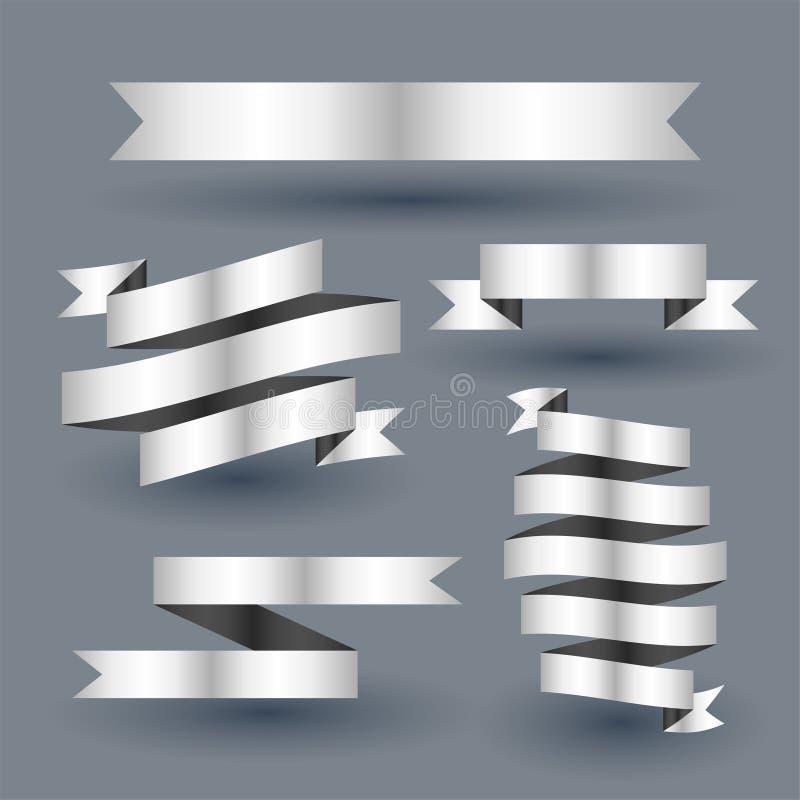 Shiny silver ribbon banner set royalty free illustration
