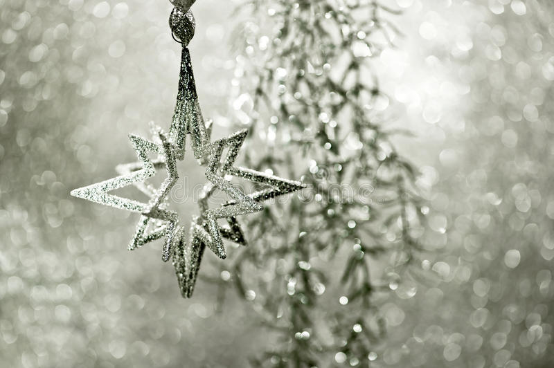 Shiny silver star. christmas decoration royalty free stock images