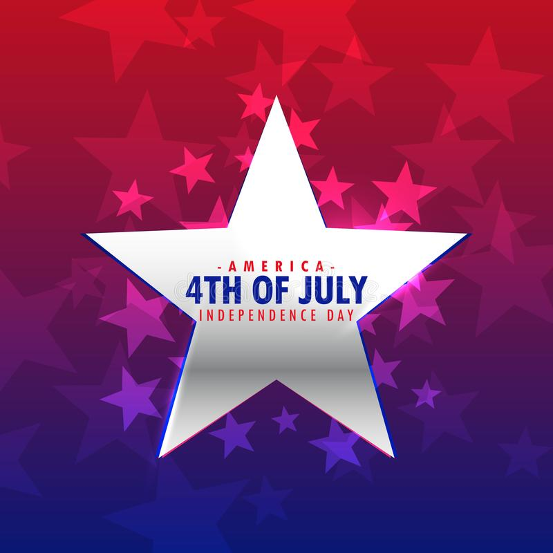 Shiny silver star 4th of july background. Vector stock illustration