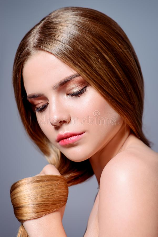 Shiny skin and hair stock images